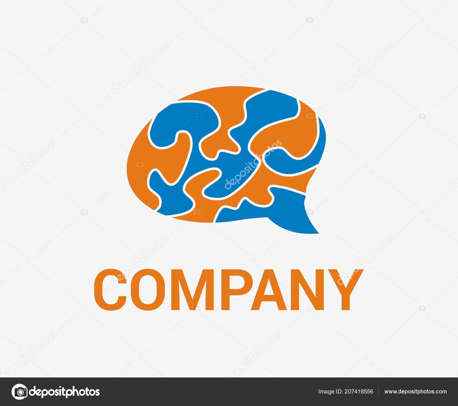 Brain Logo Design Idea Concept Blue Orange Color Smart Think