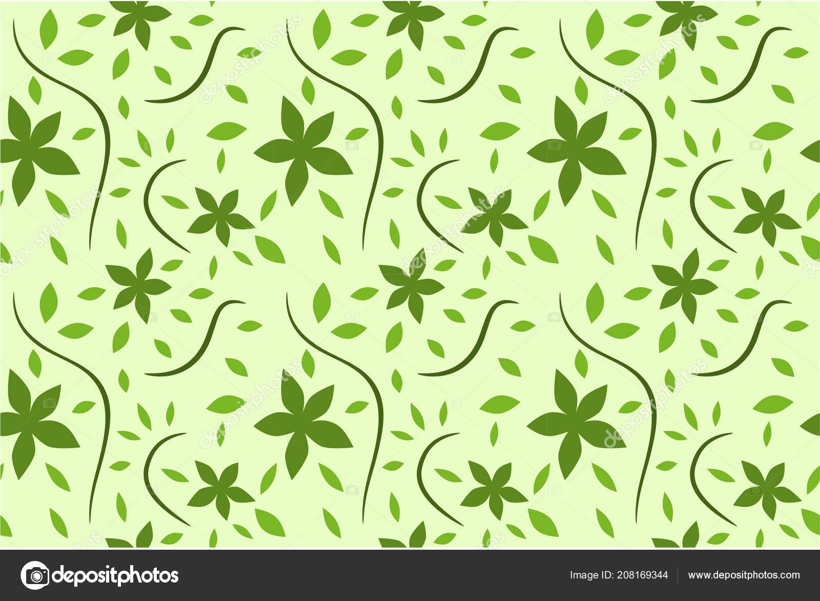 Green Color Jasmine Flower Pattern Ornament Backdrop Design
