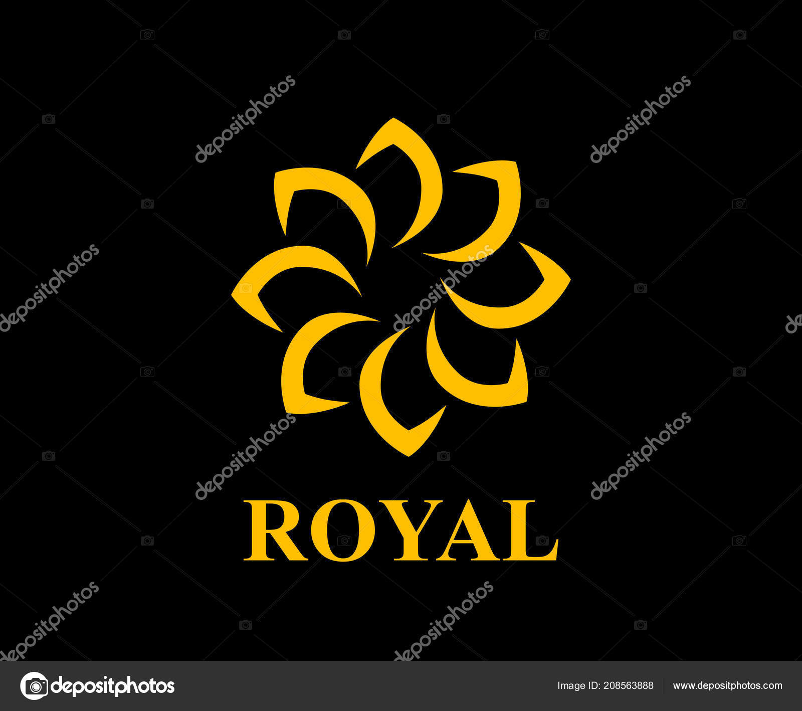 Gold Color Royal Lotus Flower Health Luxury Industry Logo Idea
