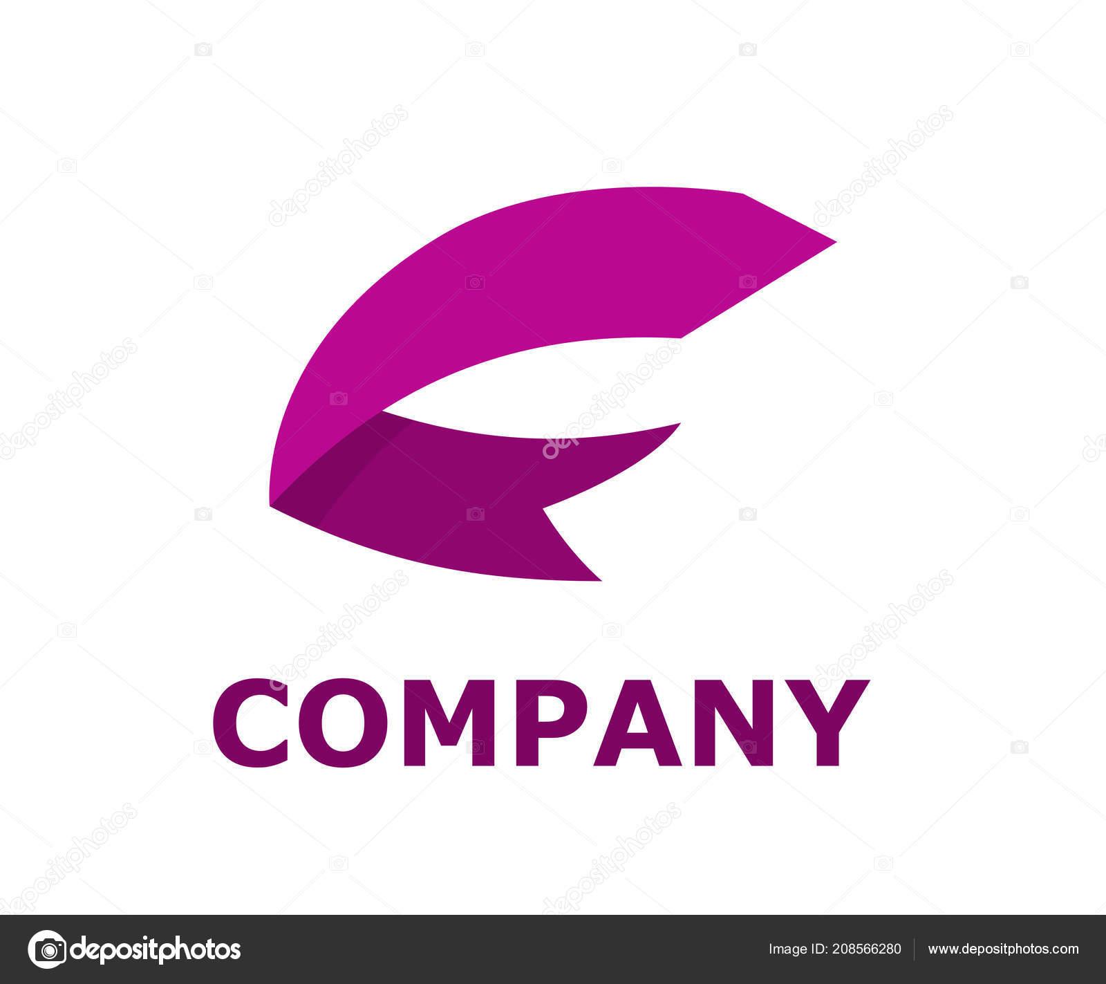Purple Color Ribbon Paper Shape Type Letter Alphabet Logo Design ...