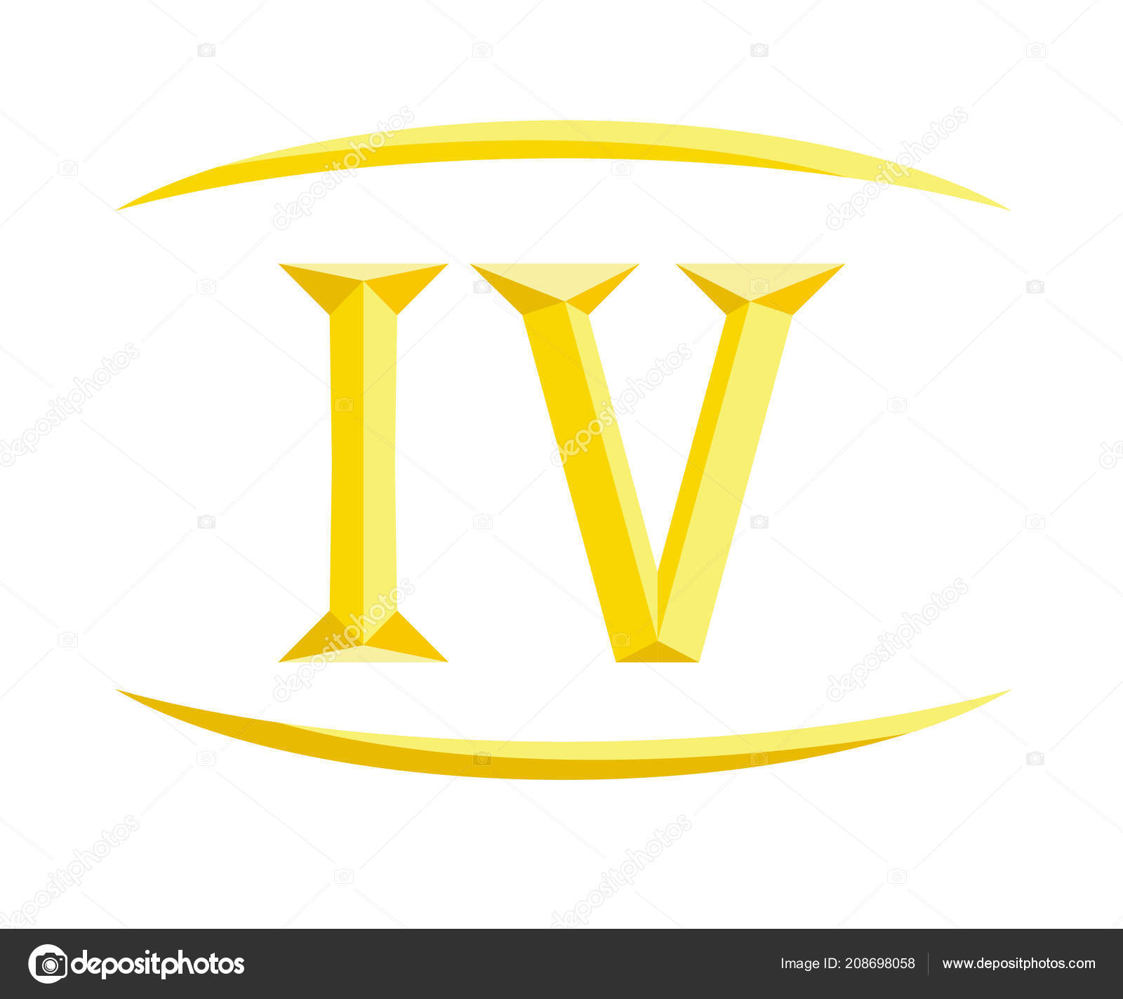 Four Letters Logo Roman Numerical Number Type Four