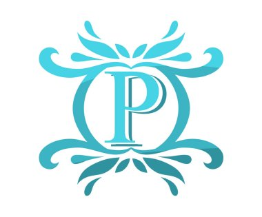 sky blue color beautiful luxury classic vintage swirl or floral border logo design template with initial name of business company on it type letter p