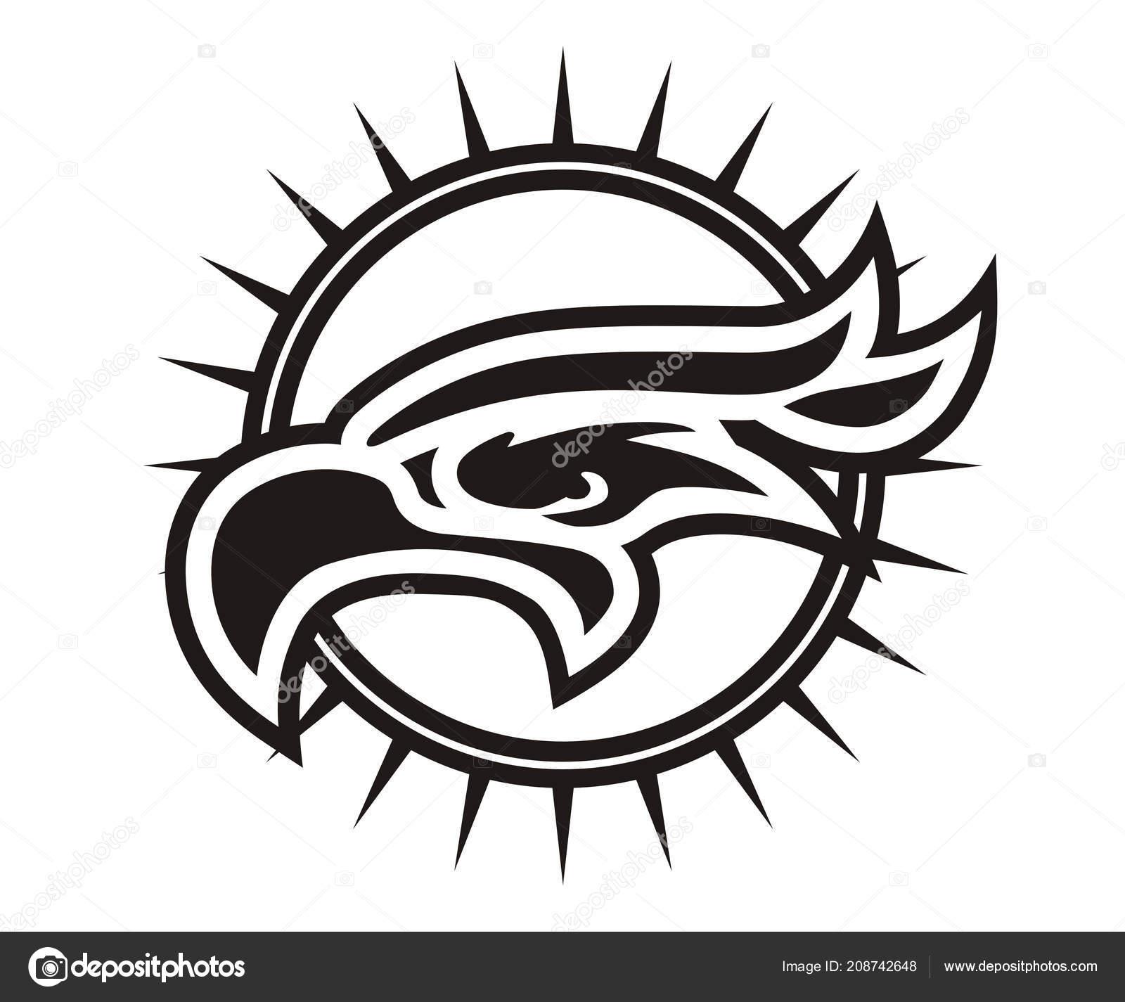 Silhouette Art Couleur Blanche Aigle Ligne Tete Comme Tatouage Logo