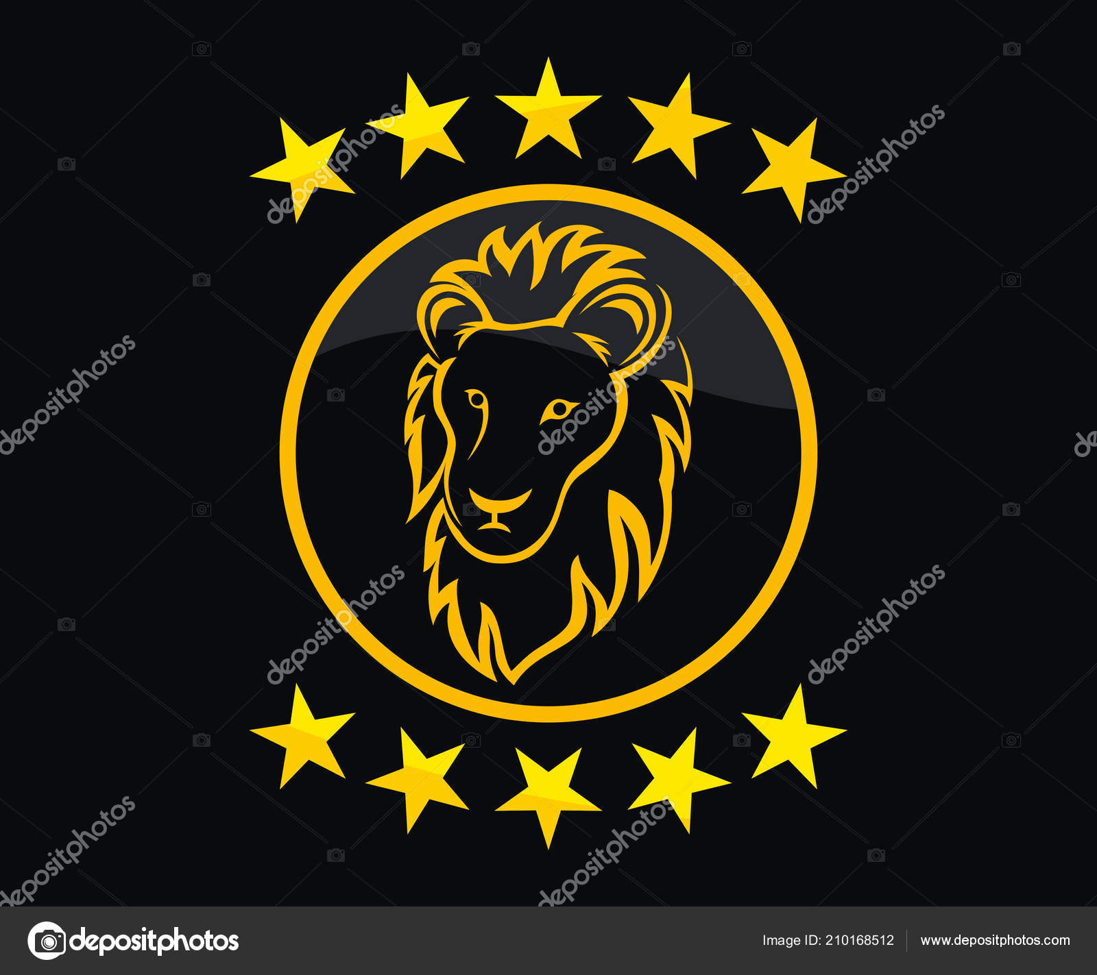 Gold Color Lion Head Silhouette Logo Design Illustration Line Art