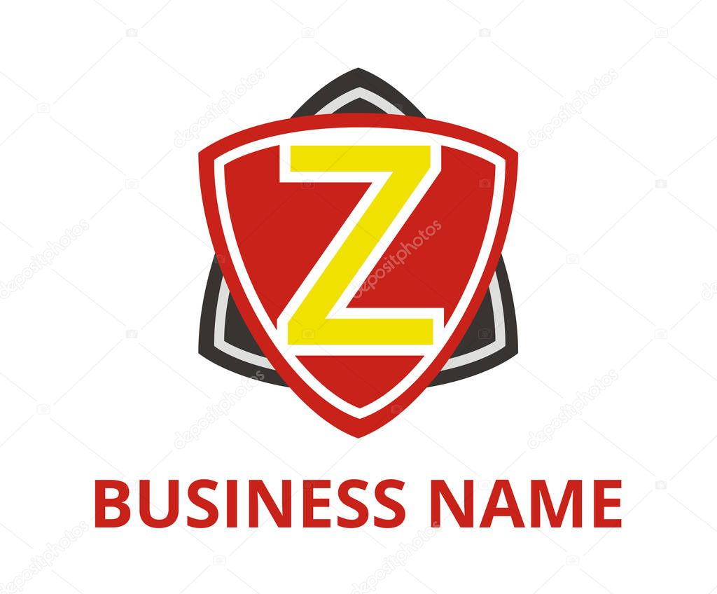 Red And Black Color Simple Triangle Shield Shape Hexagon Star Logo Graphic Design With Modern Clean Style For Protection Or Security Company With Initial Type Letter Z On It Premium Vector