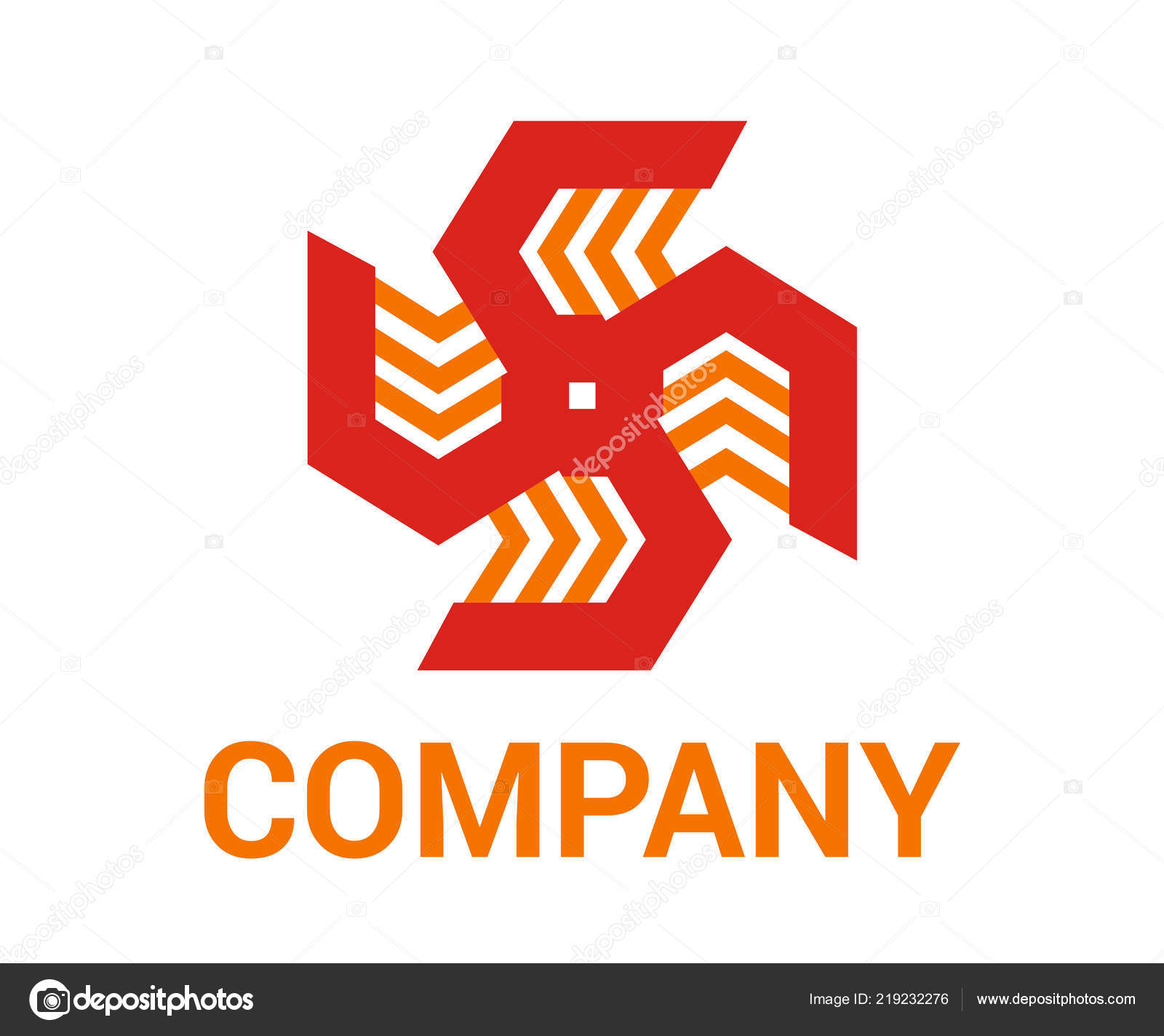 Red Orange Color Generic Arrow Abstract Mark Symbol Logo Design