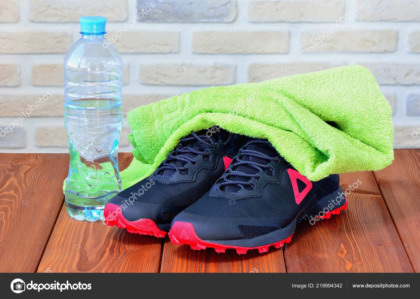 Towel Water Bottle Gym Shoes – Stock