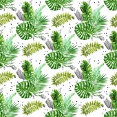 Fotografie Bouquettes akvarel džungle s grunge Klikyháky a tečky vzor bezešvé