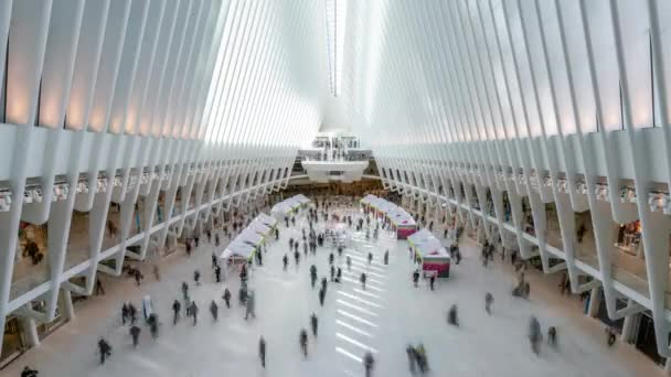 New York, USA - May 10, 2018: Timelapse video of commuters at the World Trade Center Transportation Hub, also known as the Oculus