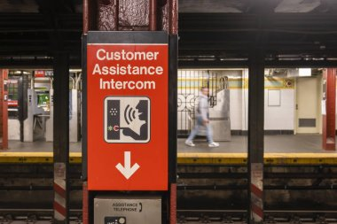 Customer assistance intercom in a subway station in New York City