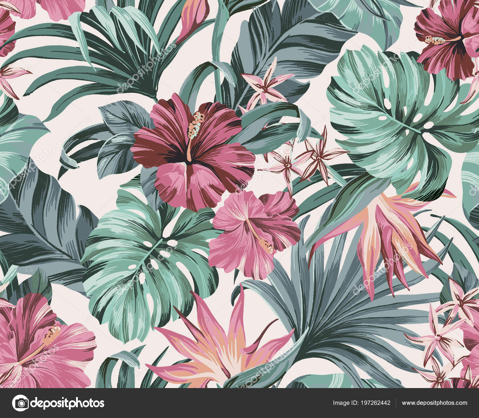 Exotic Tropical Flowers Pastel Colors Artwork Tattoo Fabrics