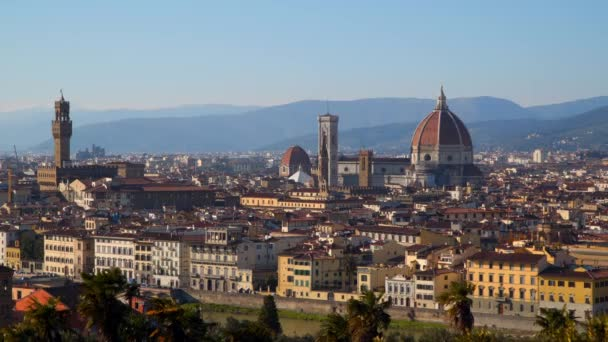 Florence Cathedral (Cattedrale di Santa Maria del Fiore) in historic center of Florence, Italy . Panoramic view of the city. Florence Cathedral is the major tourist attraction of Tuscany, Italy.
