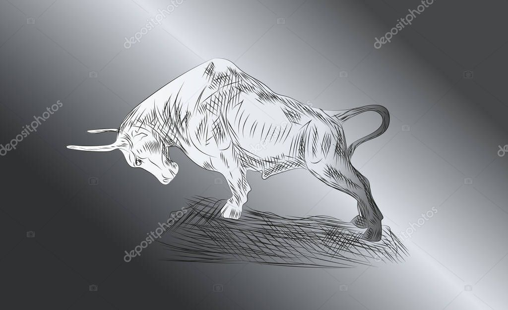 Drawn symbol of the upcoming 2021 Chinese New Years bull forward icon
