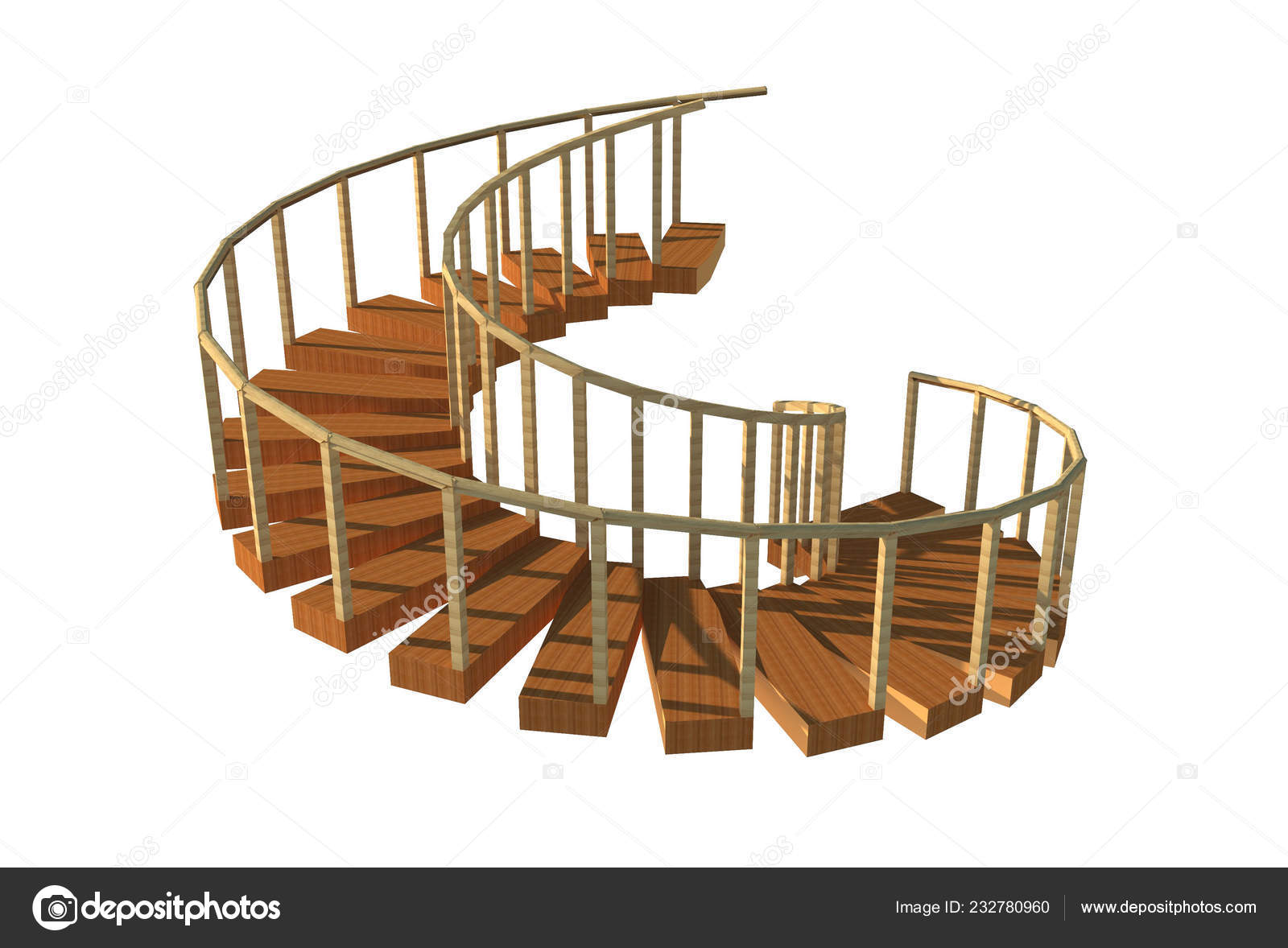 Illustration Image Decorative Wooden Spiral Staircase
