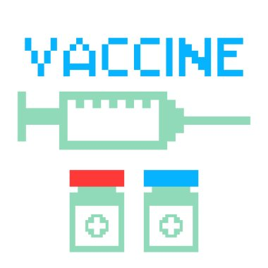 Vaccine with injection syringe for coronavirus.Vector illustration of coronavirus vaccine icons with pixel art style. icon