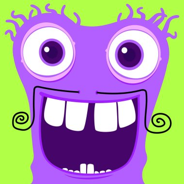 Funky purple monster character.Vector happy monster illustration from funky monster characters collection. icon