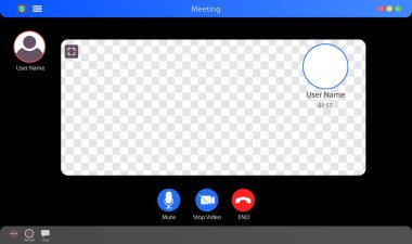 Video call Interface Mockup. Video Call Interface Vector Illustration. Meeting App Interface Concept With Transparent Background. Video Conference. Put Your Content Under Background. Vector illustration icon