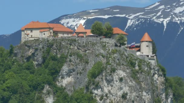 View of the Slovenian Bled Castle, up on the mountains,