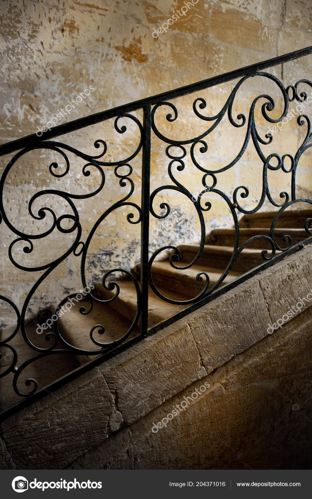 Image of: Wrought Iron Handrail Staircase Mansion Stock Photo C Jacquespalut 204371016
