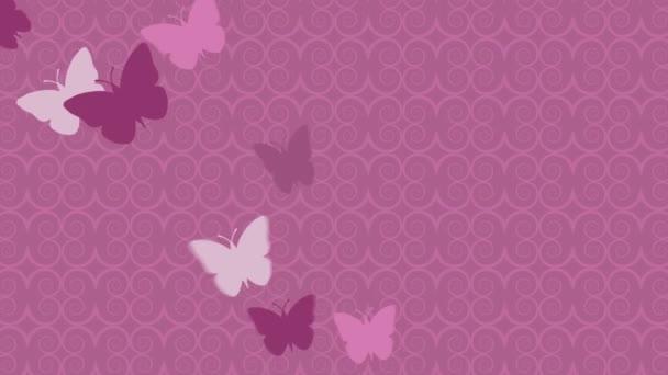 Csinos pillangók repül rózsaszín háttér - animáció