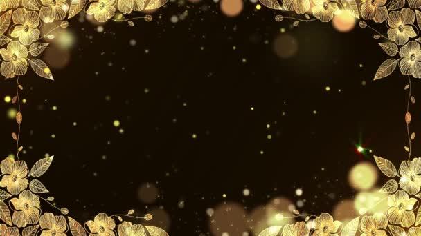 Abstraktní animace Zlaté třpytky v černém pozadí se zlatými květy a listy Okrajový rám - 3d
