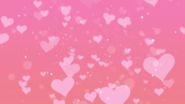 Gyönyörű szerelem szív csillogás úszó rózsaszín háttér - közelkép lövés