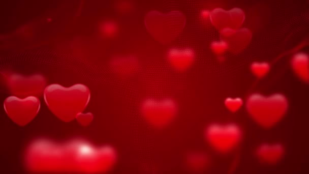 Collection Of Hearts Moving Sideways In Red Background. - graphics