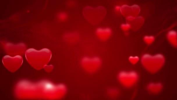 Kolekce srdcí pohybující se bokem v červeném pozadí. - grafika