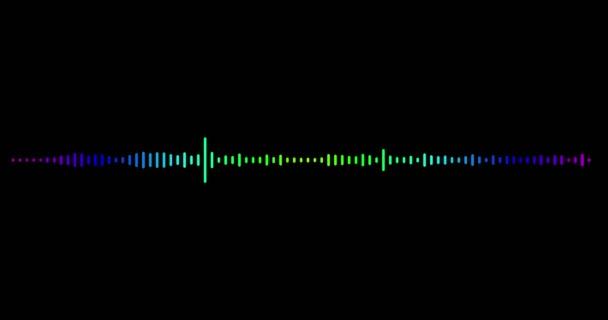 4k színes animáció zenei vizualizáló fekete háttérrel. Színes audio kiegyenlítő sötét háttérrel. UHD, HD, 1080p 4K formátumú.