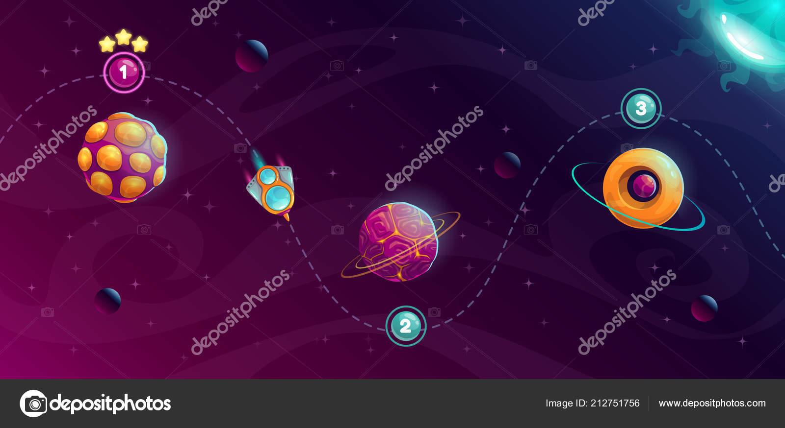 Rocket space trip concept  Galaxy game design  — Stock