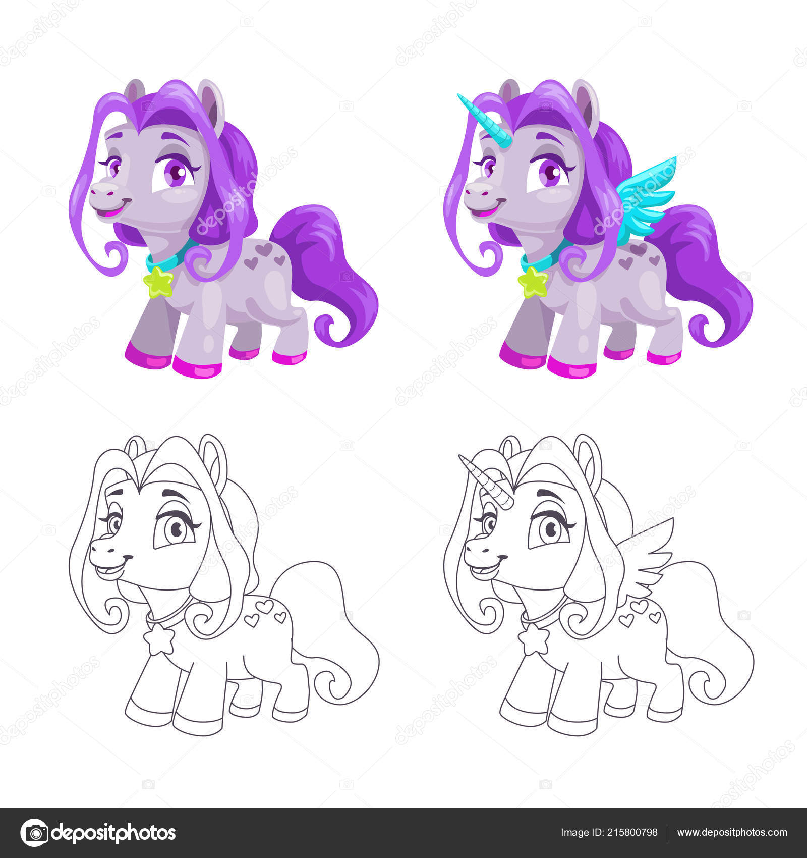 Cute Little Horse And Unicorn Icons Colorful And Outline Versions Stock Vector C Lilu330 215800798