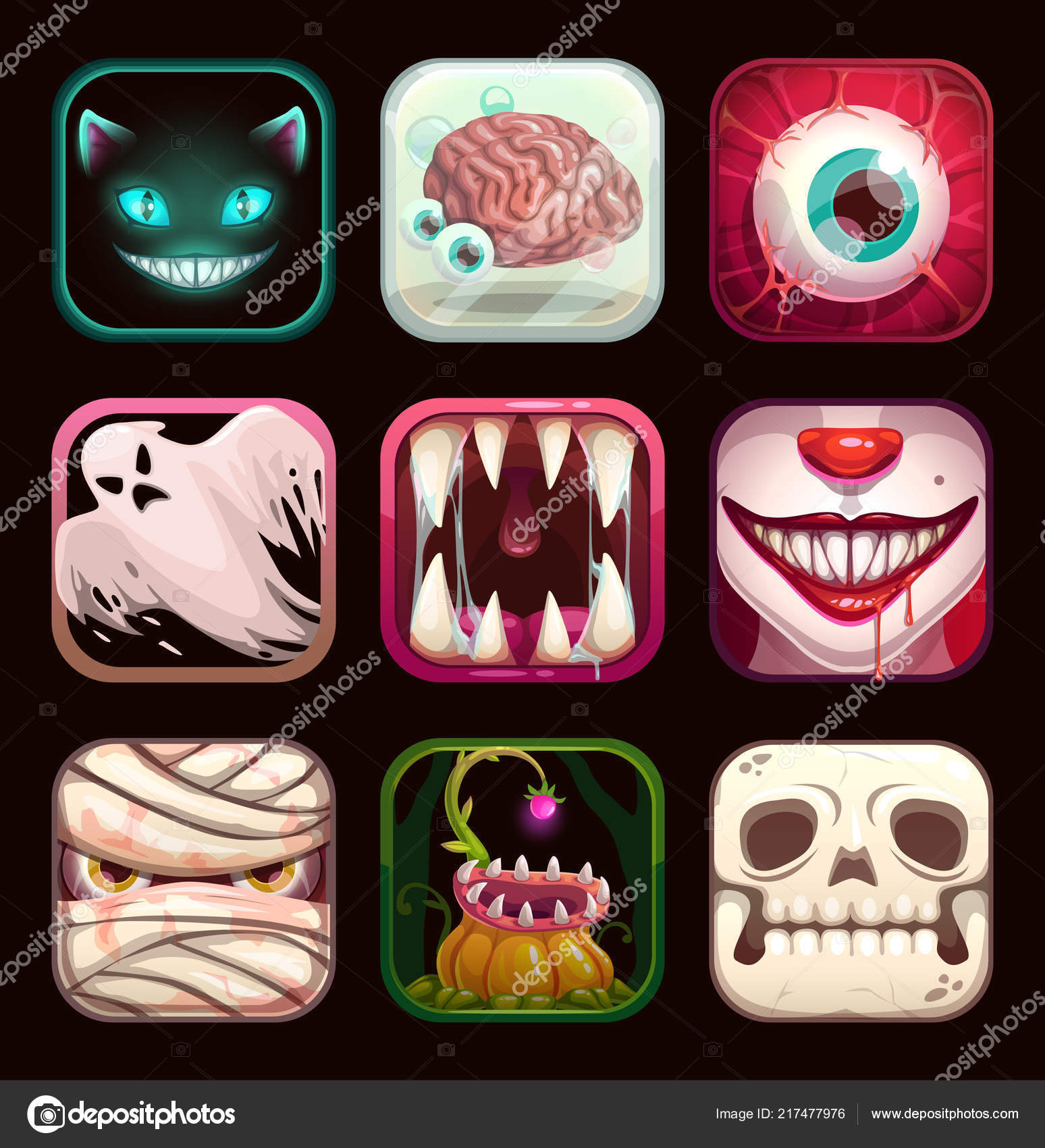 Pictures: creepy icons | Scary app icons on black background