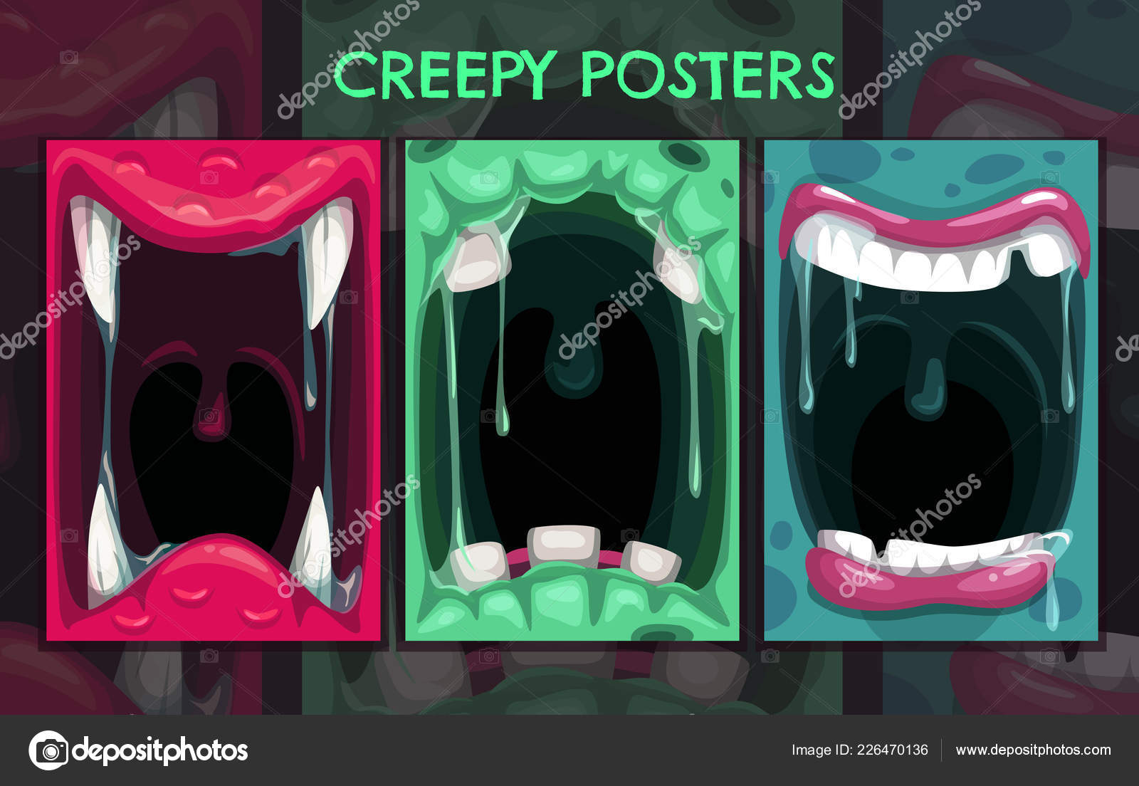 Creepy Halloween Backgrounds Monster Mouth Posters Set Stock