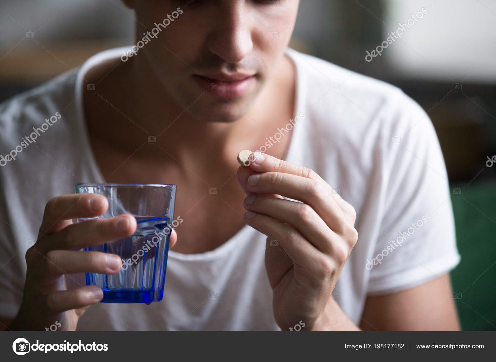 Sick Ill Depressed Man Holding Glof Water Taking Pill Suffering From Headache Fighting Stress With Antidepressant Drugs Meds Painkillers To Relieve