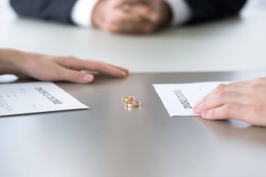 Close up of rings and divorce decree lying on table