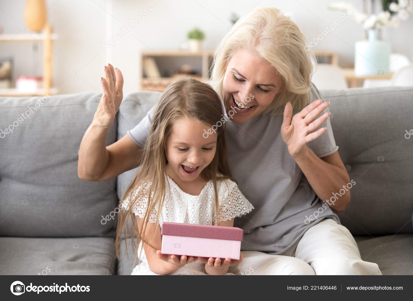 Grandmother Present Excited Little Granddaughter Birthday Gift Stock Photo
