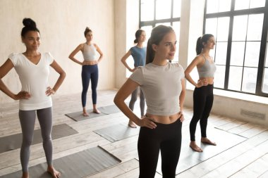 Diverse attractive girls ready for start training