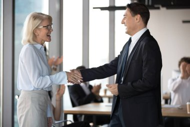 Excited middle aged employee shaking hands with company boss