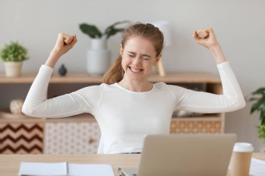 Happy young woman celebrating online win at home, excited millennial student rejoicing receiving good test exam results or college admission letter on laptop, winner satisfied with success victory stock vector