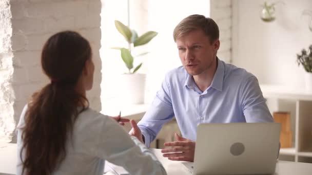 Happy hr manager recruiter employer handshaking hiring candidate