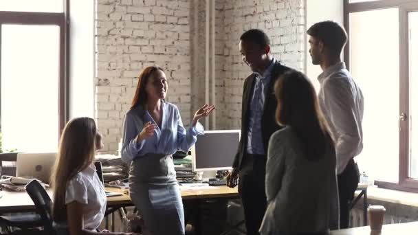 Happy company leader motivating diverse business team give high five