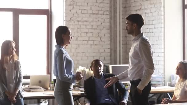 Happy woman worker get rewarded promoted handshake boss congratulating praising