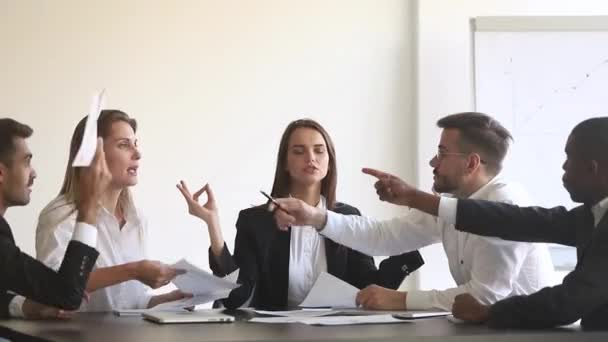 Calm female worker meditate at business meeting avoiding pressure conflict