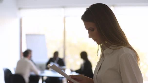 Stressed nervous businesswoman designer speaker preparing speech feeling afraid