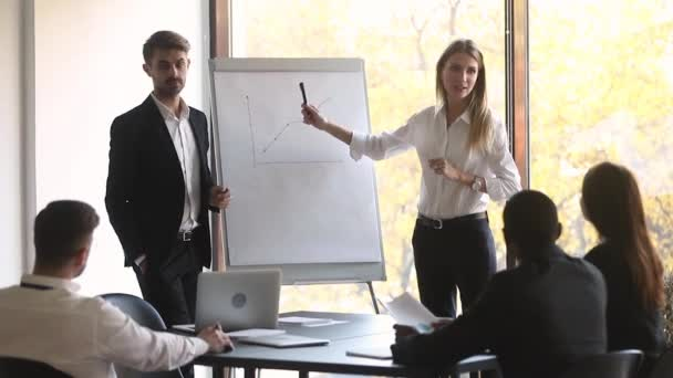 Two professional business coaches company leaders give flip chart presentation