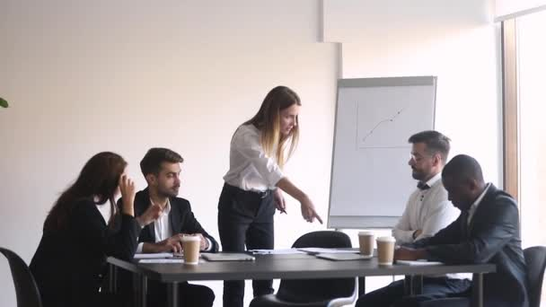 Male worker get fired by angry female boss leaving meeting