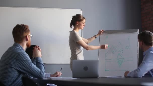 Attractive millennial woman business coach giving presentation to company members