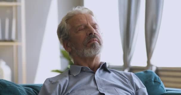 Calm serene elderly man take deep breath of fresh air