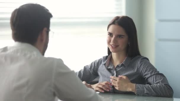 Company head and vacancy candidate during job interview at office