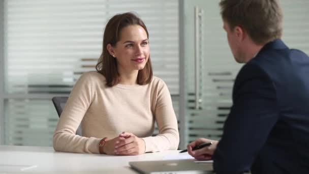Job interview process focus on woman applicant answers on questions
